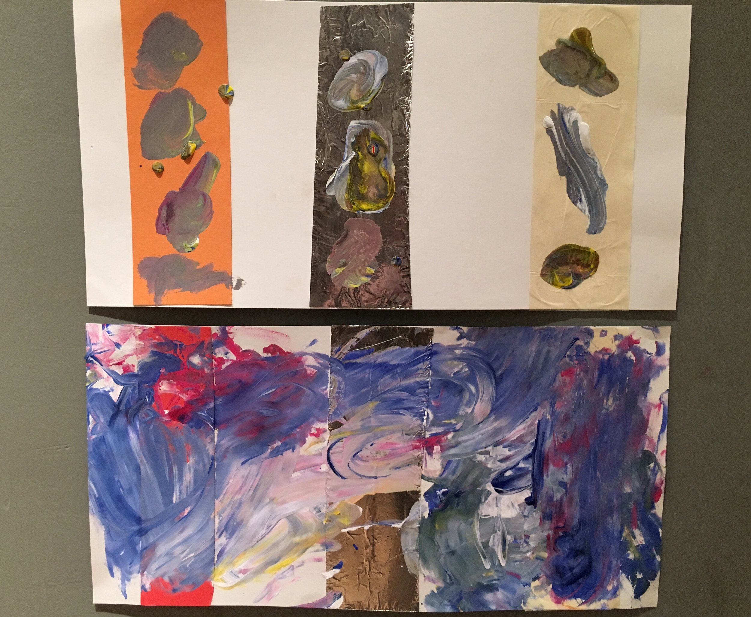 Choice based painting process- documentation of the comparison of two 2.5 year old's paintings