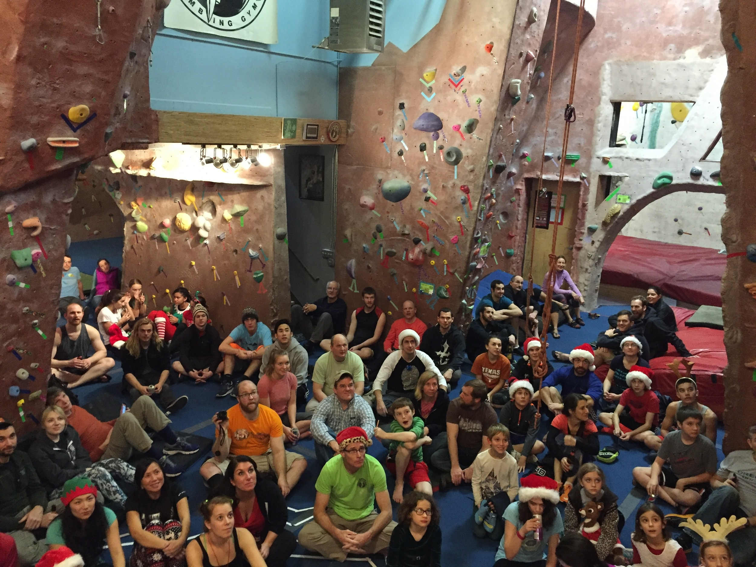 A big percentage of the SW/AG family during Christmas Boulder Joust at Stoneworks.