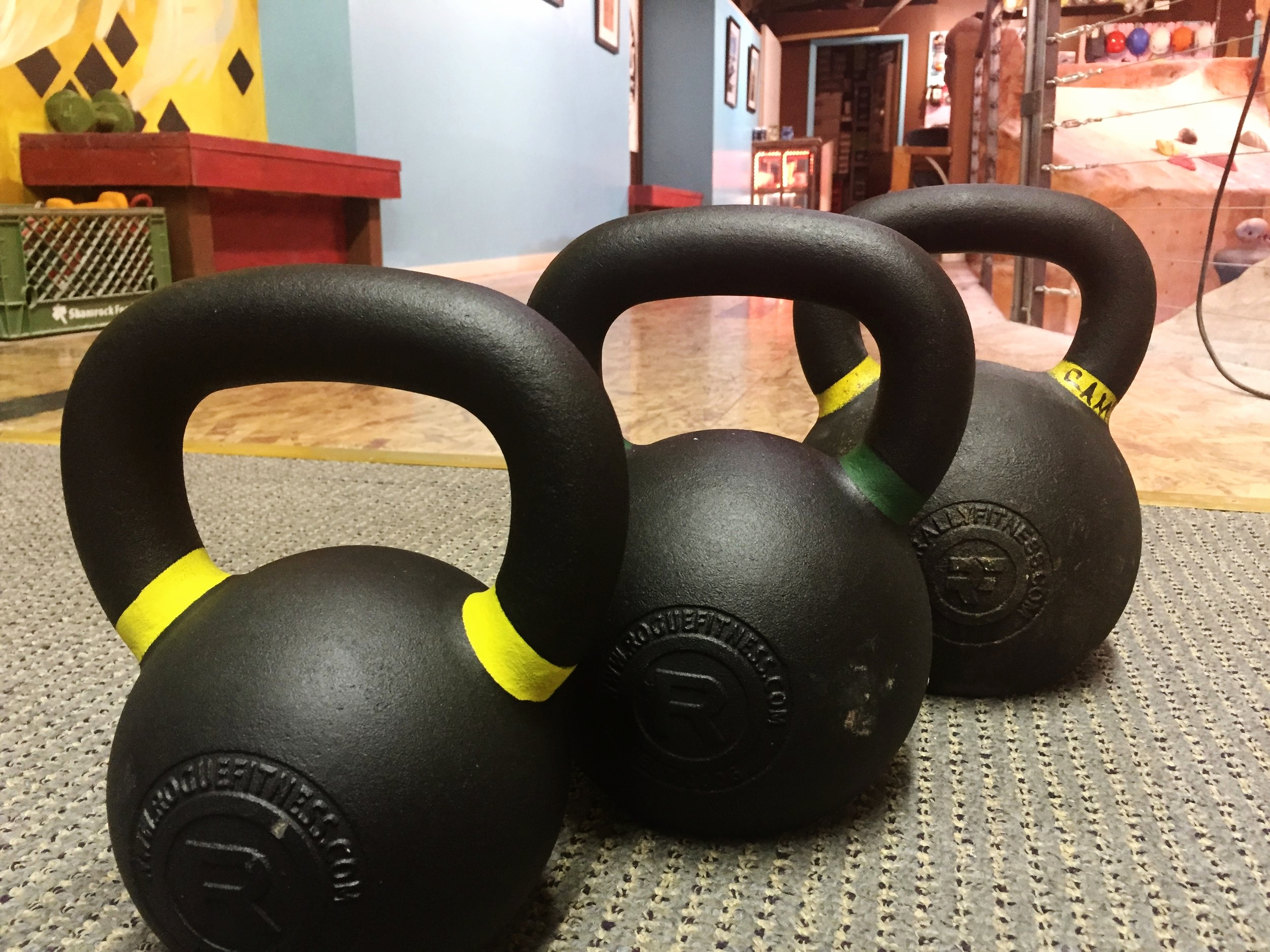 Cannon balls ready to fire. We often workout right next to the retail shop after our climbing workouts.