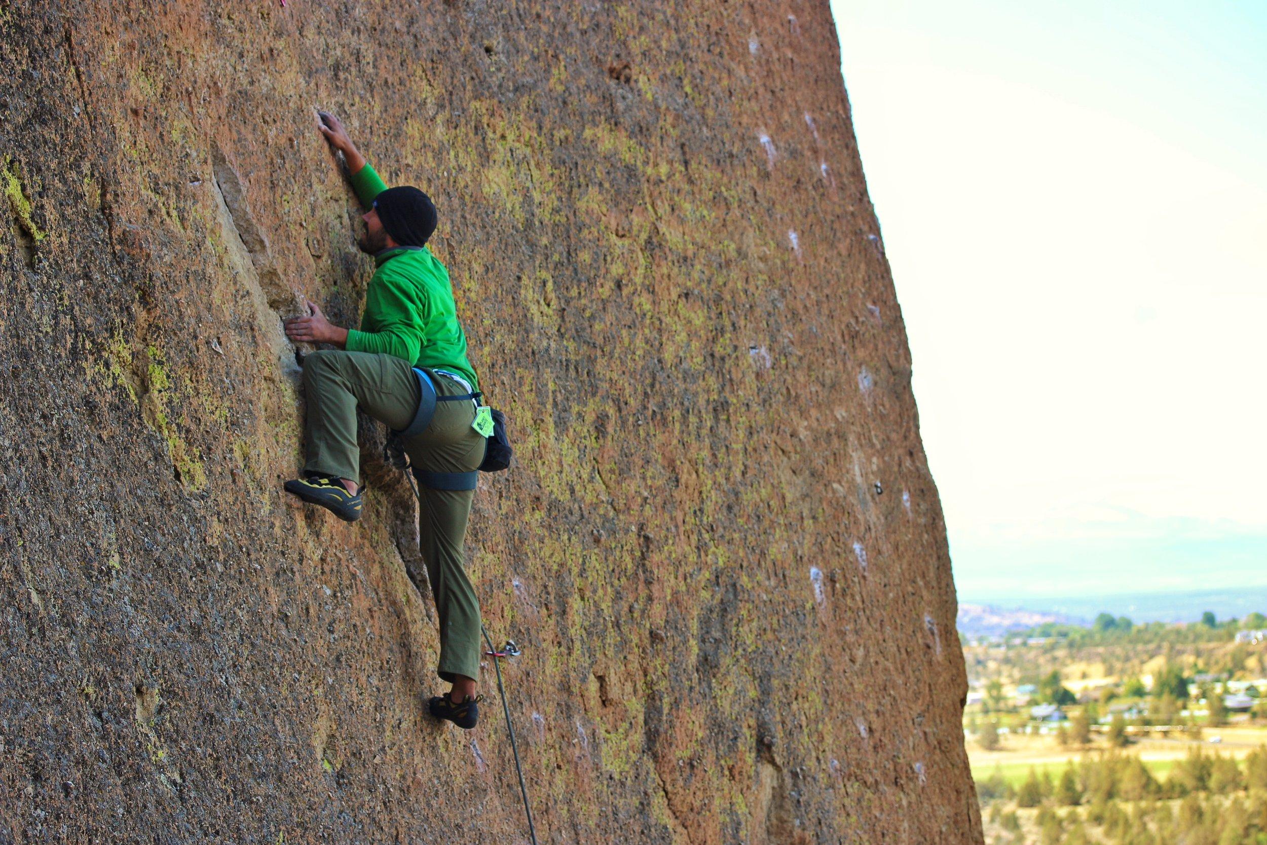 Steven climbing at Smith Rock.