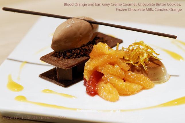 Blood Orange and Earl Grey Creme Caramel, Chocolate Butter Cookies, Frozen Chocolate Milk, Candied Otange