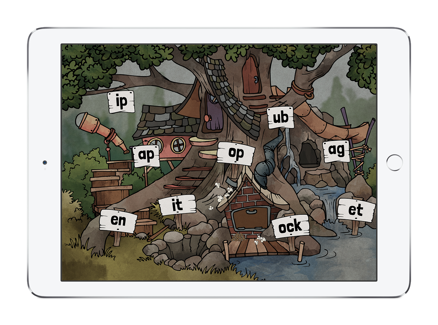 """Words (""""pop"""", """"shop"""", hop"""", etc.) are organized into activities based on a shared phonic pattern (""""op"""")."""