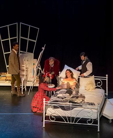 act four . schaunard, musetta, marcello, mimi and rodolfo