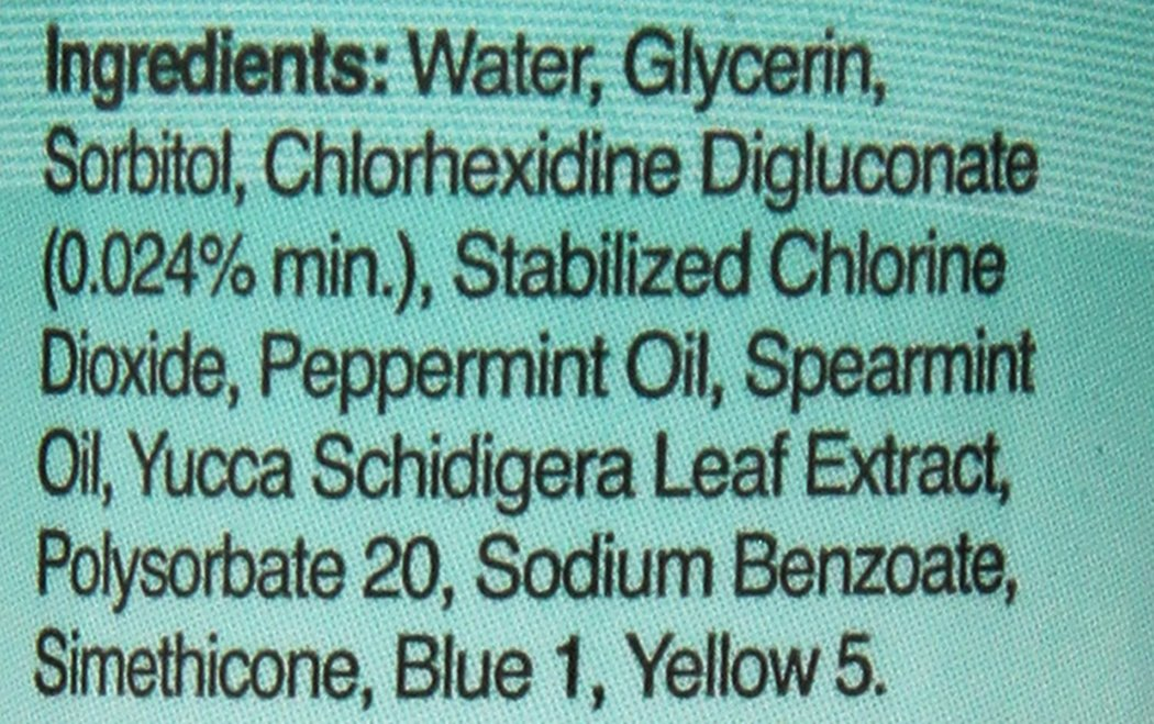 The ingredients list from Nutri Vet Breath Fresh Dental Rinse