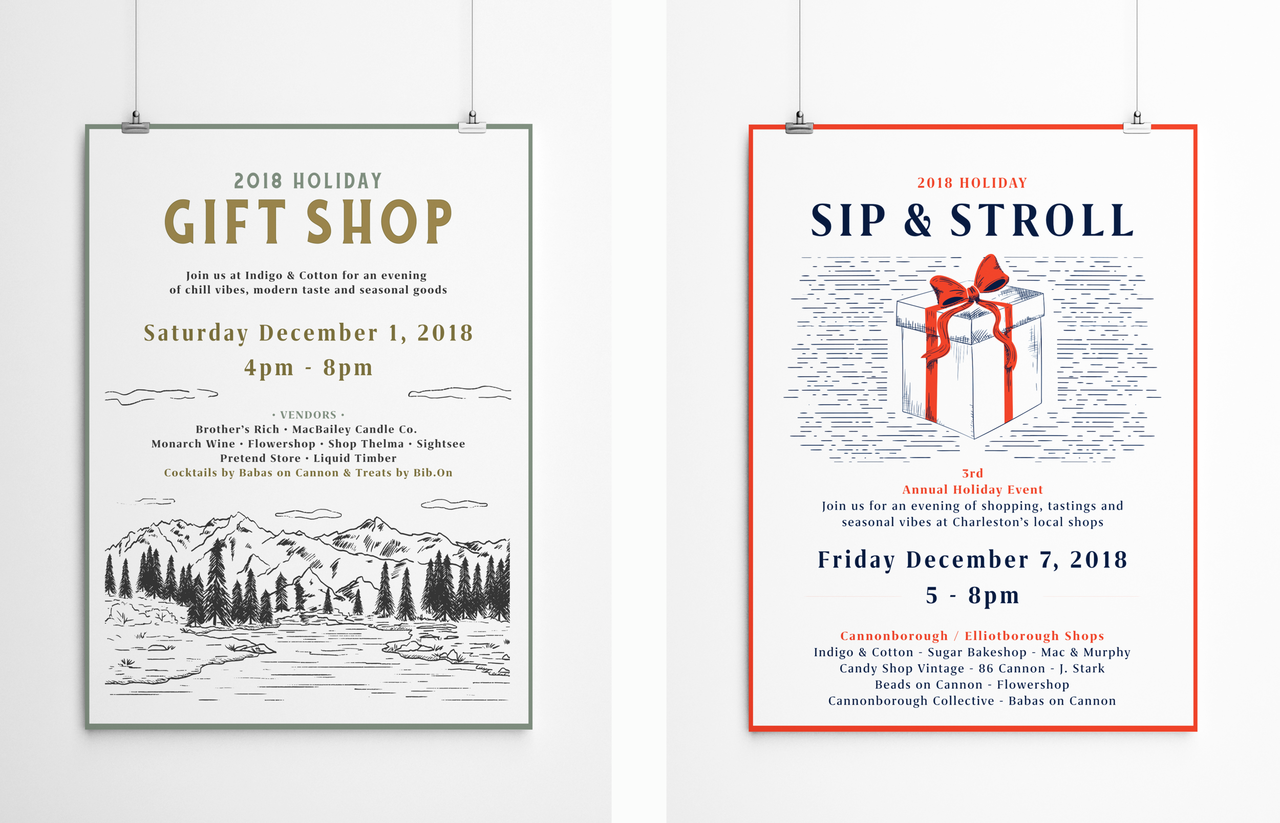 Posters Commissioned by Indigo & Cotton for Two Holiday Events