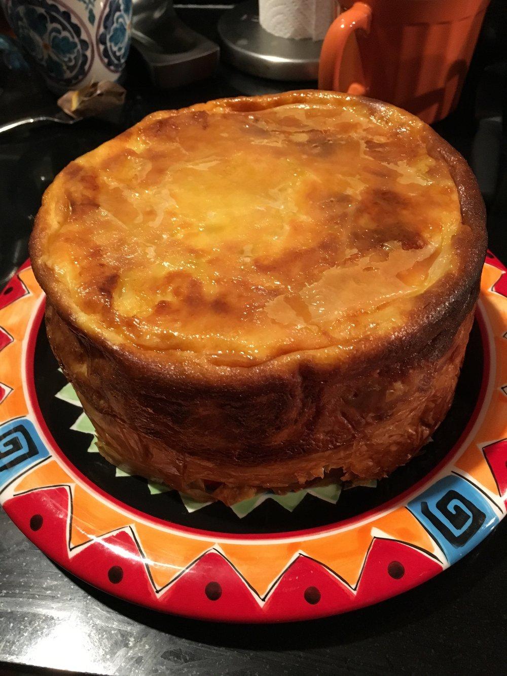 "Mary Liepold   Serbian Gibanica (2017) cheese pie in earthenware pot 12"" diameter x 8"""