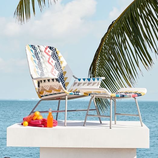 All-Weather Woven Lounge Chair - This is perfect to accent a bland beige outdoor lounge! Pair it with a simple chunky stool-style side table and the frozen cocktail of your choice. You'll have an outdoor oasis in no time.