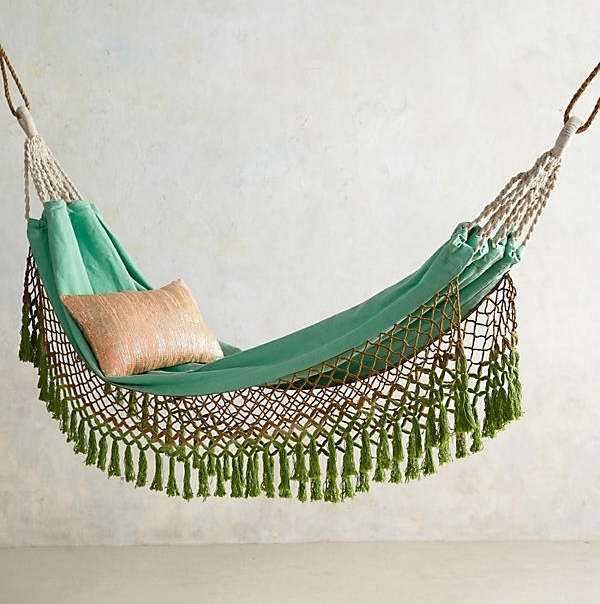 Canyon Fringe Hammock - You'll be in your own personal paradise lounging in this woven, island-inspired hammock from Anthropologie. We love the way it drips with netted fringe.