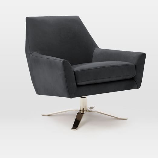 West Elm | Lucas Leather Swivel Base Chair ($999) - Slightly smaller than the Restoration Hardware counterpart, this West Elm piece offers the same cool industrial style at a significantly lower price. It does, however, lack the built-in lumbar pillow. If you're in the market for a $4000 chair and want the best available, RH would be the best choice. If you are looking for something to do the trick while your kids are still in their