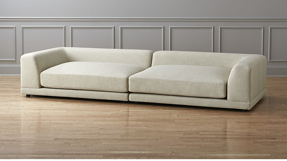 CB2 | Uno 2-Piece Sectional Sofa ($2198) - This piece has the same minimal yet cozy lines as the DWR piece but at a fraction of the price. This piece is made of FSC (SUSTAINABLE) kiln dried hardwood right here in the US. It's even deeper and longer than DWR version—134
