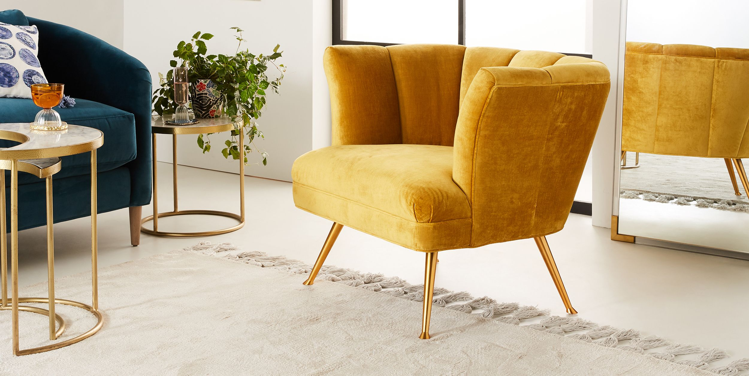 Anthropologie Tulip Chair in Gold Velvet