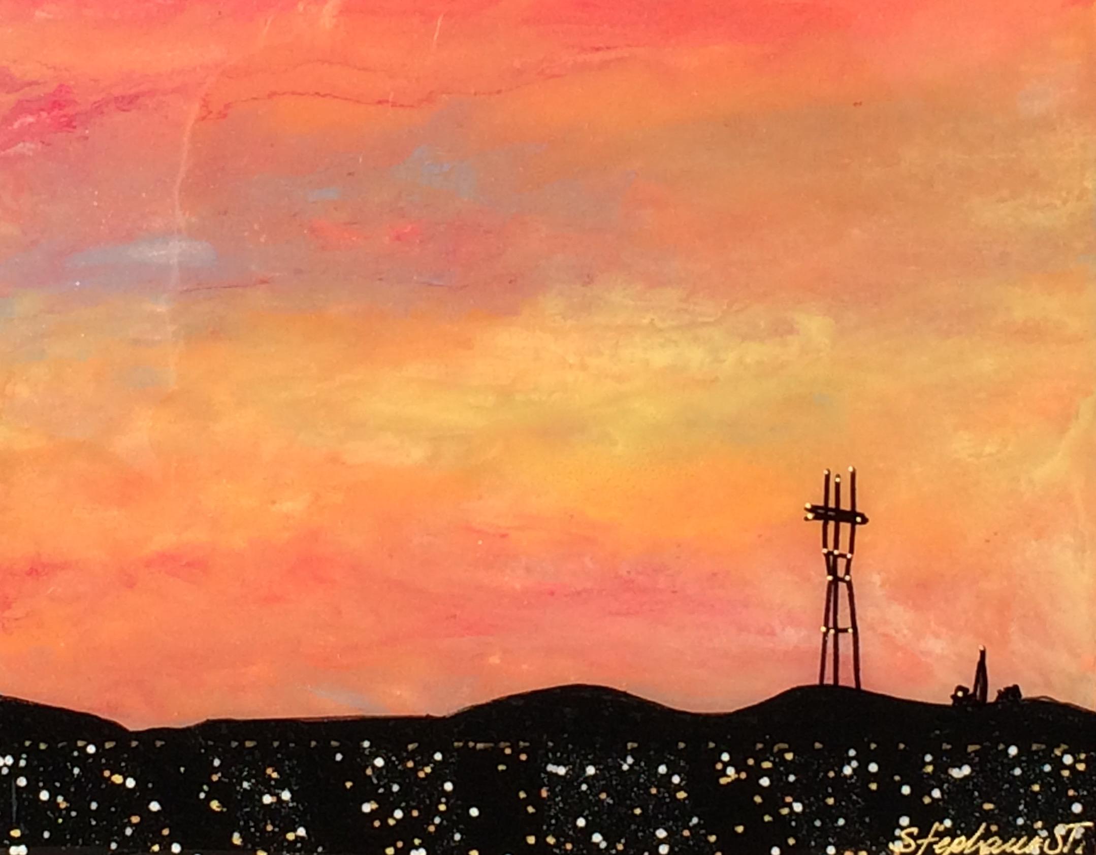 "SUTRO SUNSET #14, (8x10"") 2016 Acrylic & Resin on wood"