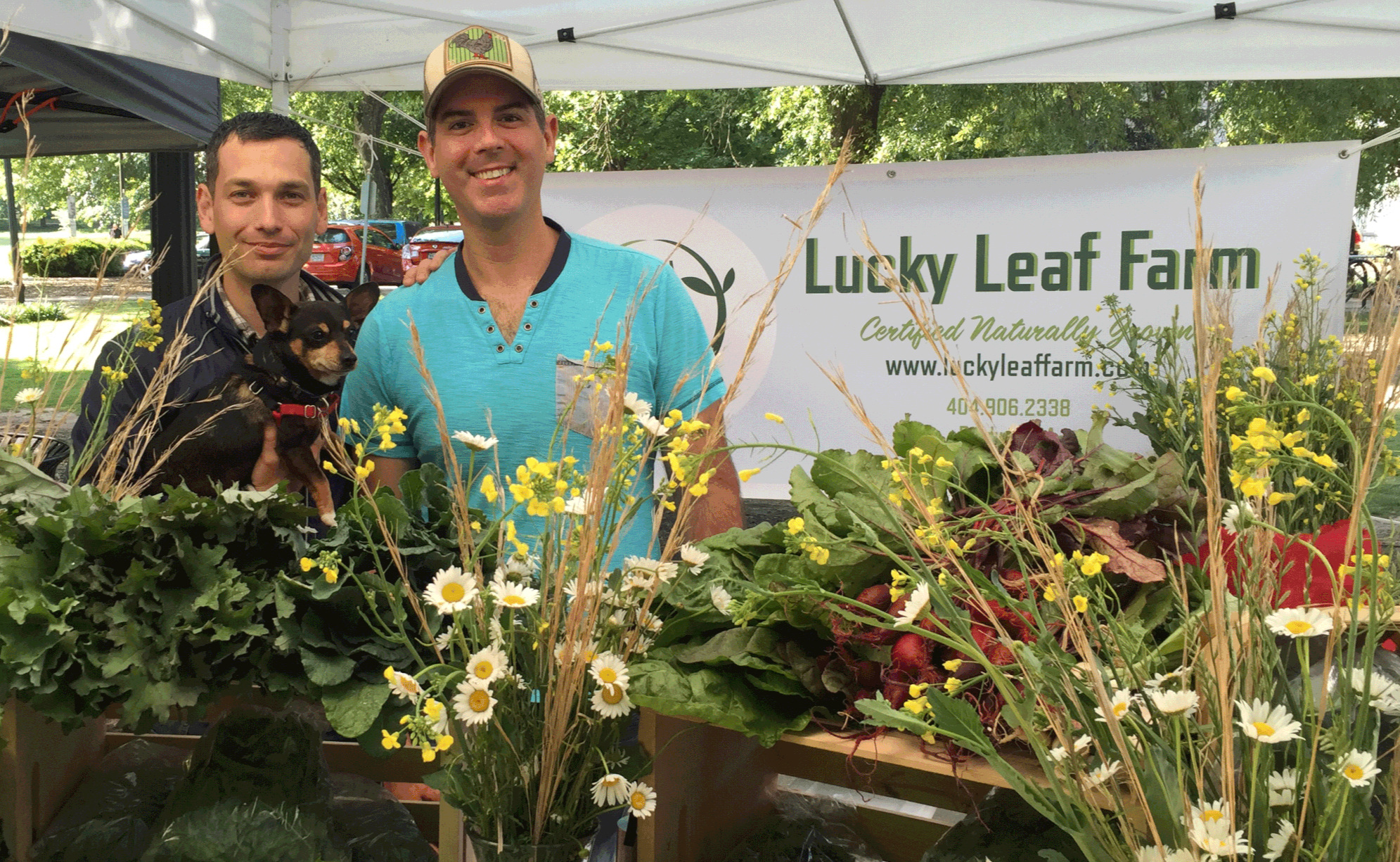 Joshua and John, owners of Lucky Leaf Farm at the Piedmont Green Market Farm Stand.