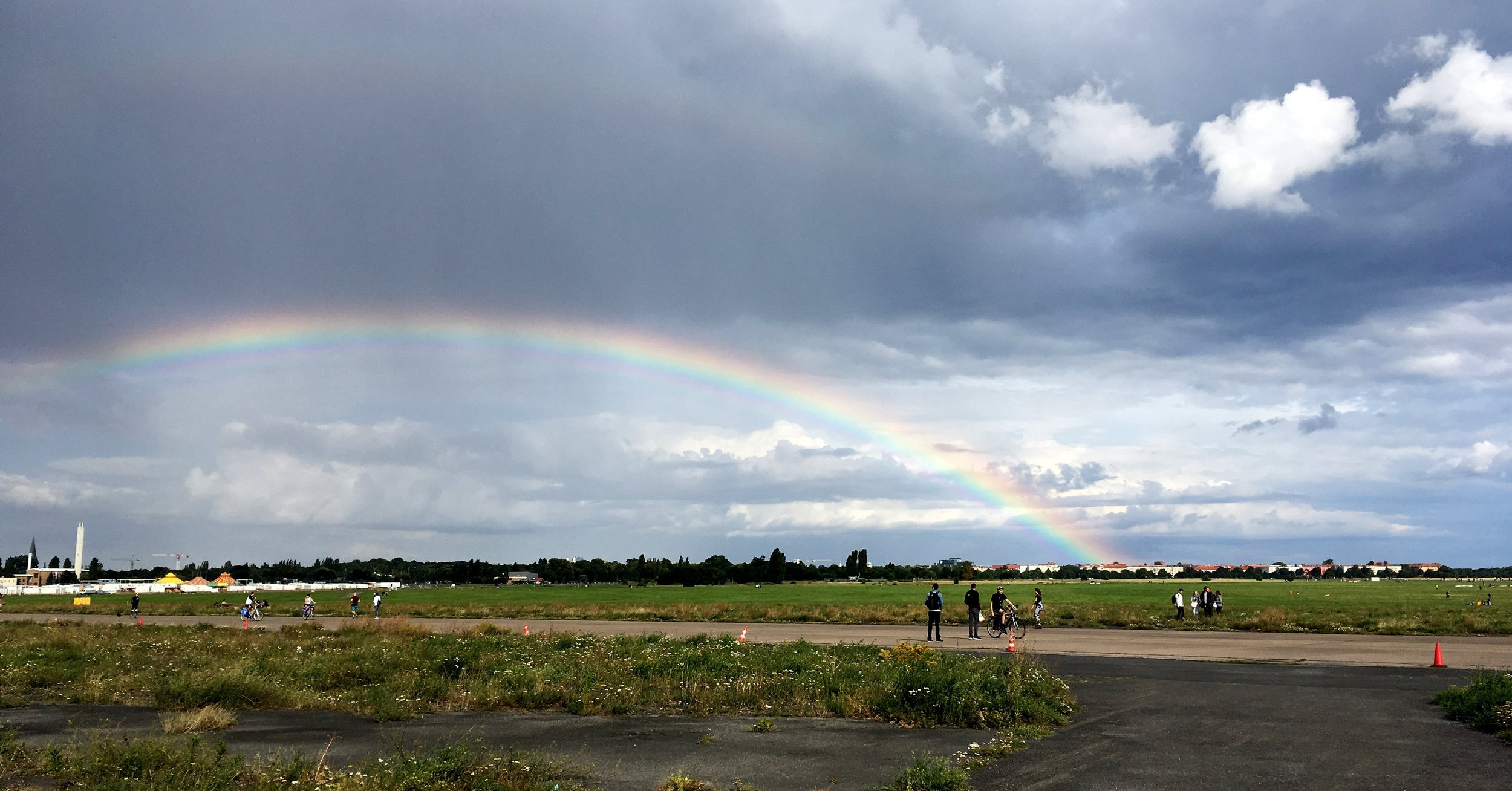 A rainbow appears over Templehofer Feld, the public park at what used to be the famous Tempelhof Airport. Sep. 2, 2017.