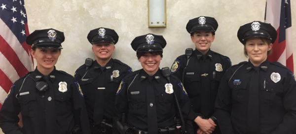 Pictured left to right are Officer Cara Butts, Officer Suzie Dawson, Officer Sidney Brown, Officer Heather Jackson, and Officer Conchata Berry.