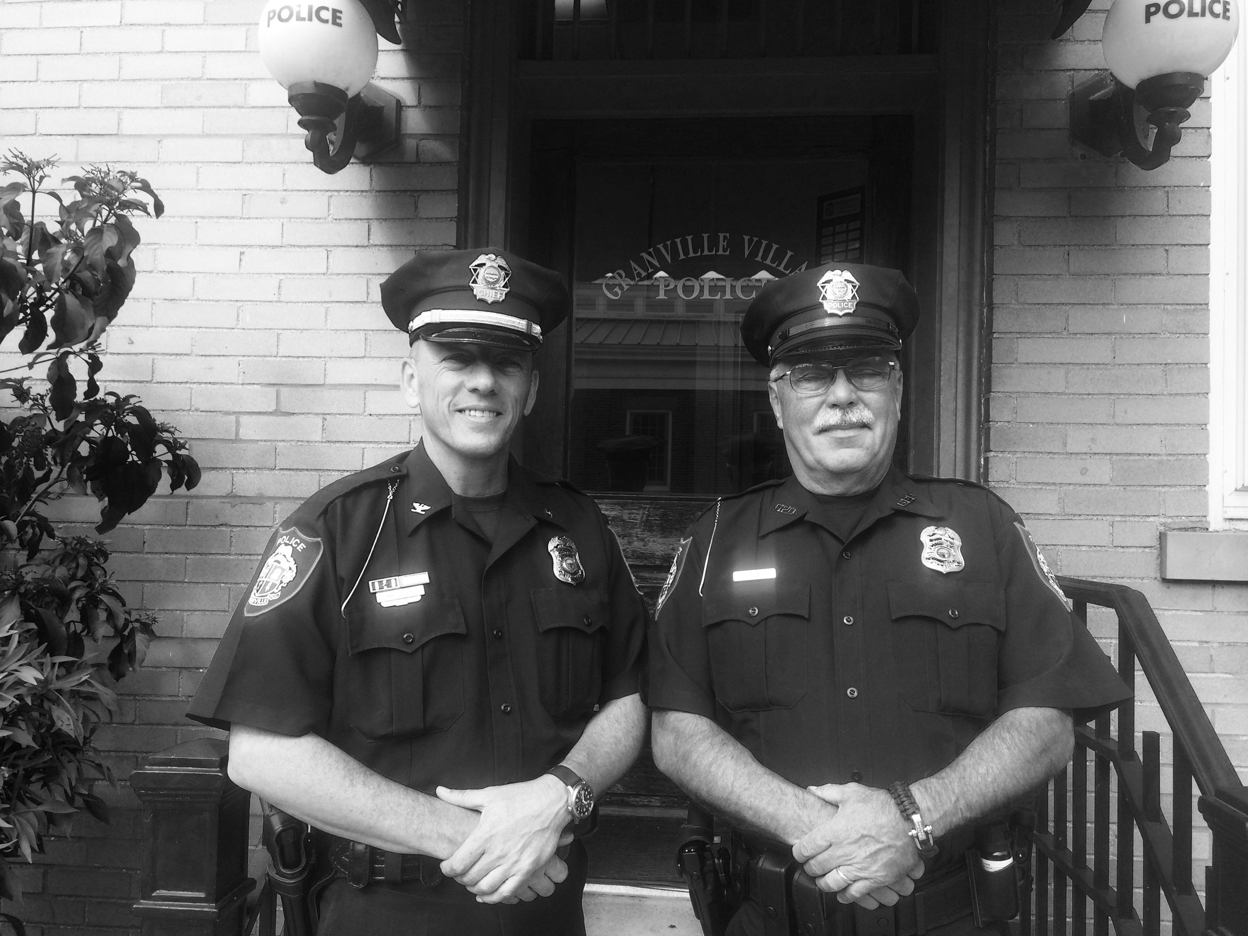 Two Granville officers in front of the Police Station, summer 2015