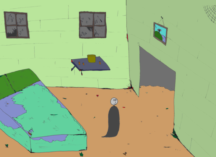 A lonely ghost wakes up in his shitty bedroom