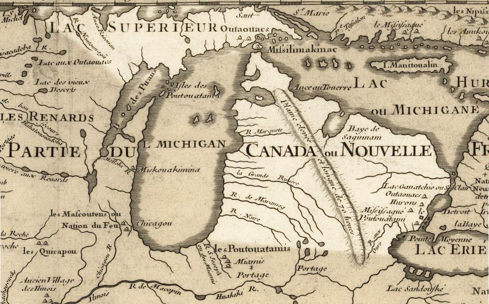 1718 Map of Michigan, Public Domain