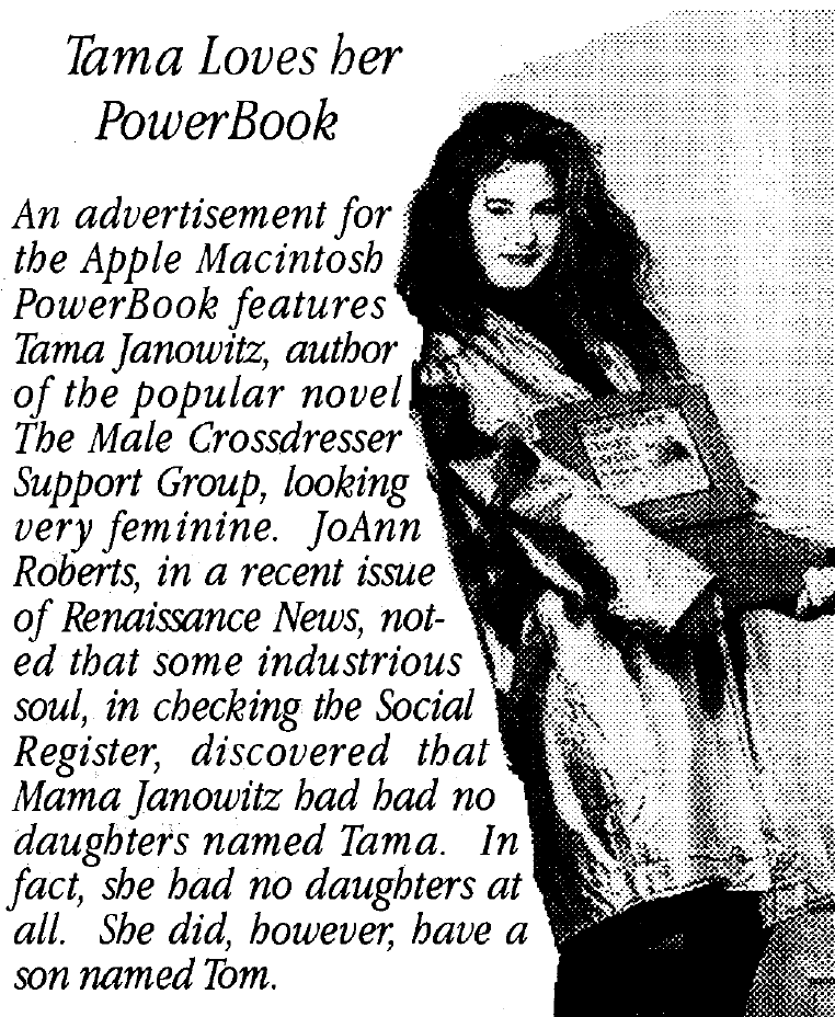 Image: AEGIS Newsletter, Dallas Denny personal archive. NB there is no evidence to suggest that Tama Janowitz is transgender.