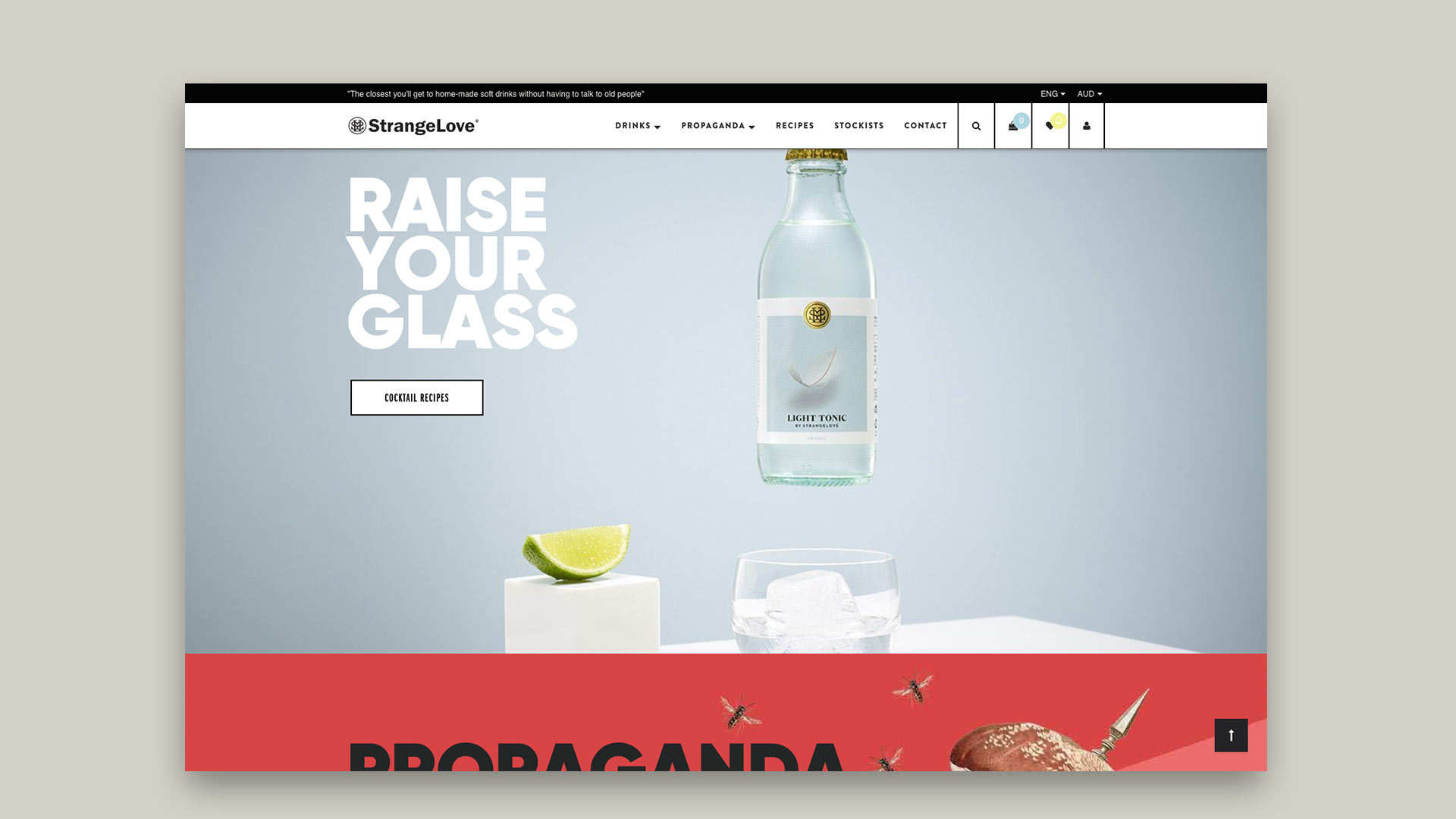 Strangelove Beverage Co., Shopify website customization