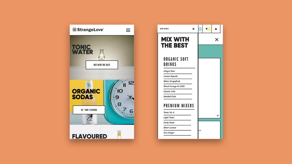 Strangelove Beverage Co, Shopify website customization