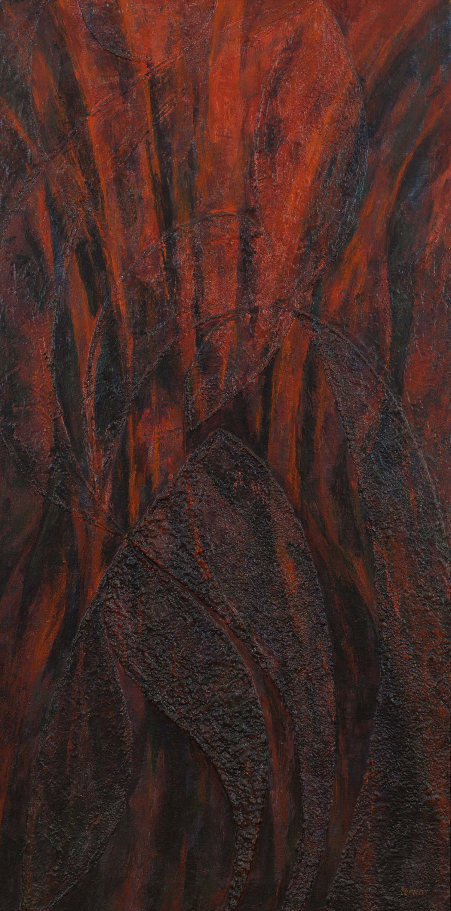 Flames to the Very Sky  , August 1983, Acrylic and aggregate on canvas, 48 x 24 inches