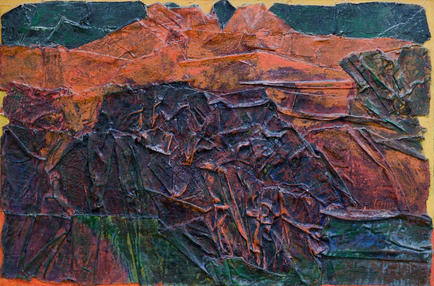 Craggy Cliff , July 1966, Canvas construction and acrylic on masonite, 24 x 36 in