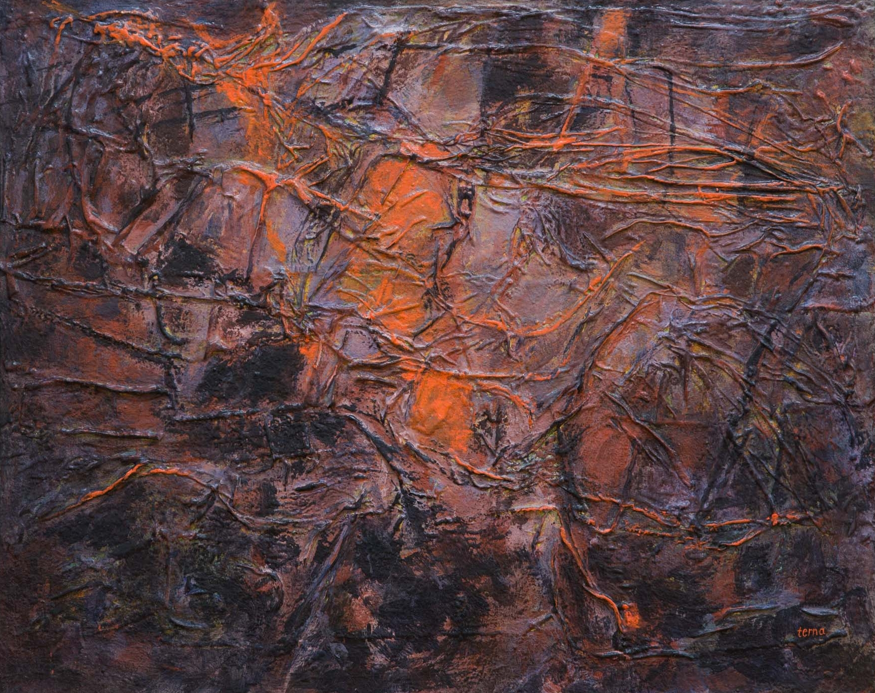 A Persistence of Embers , August 1973, Acrylic and aggregate on canvas, 24 x 30 in