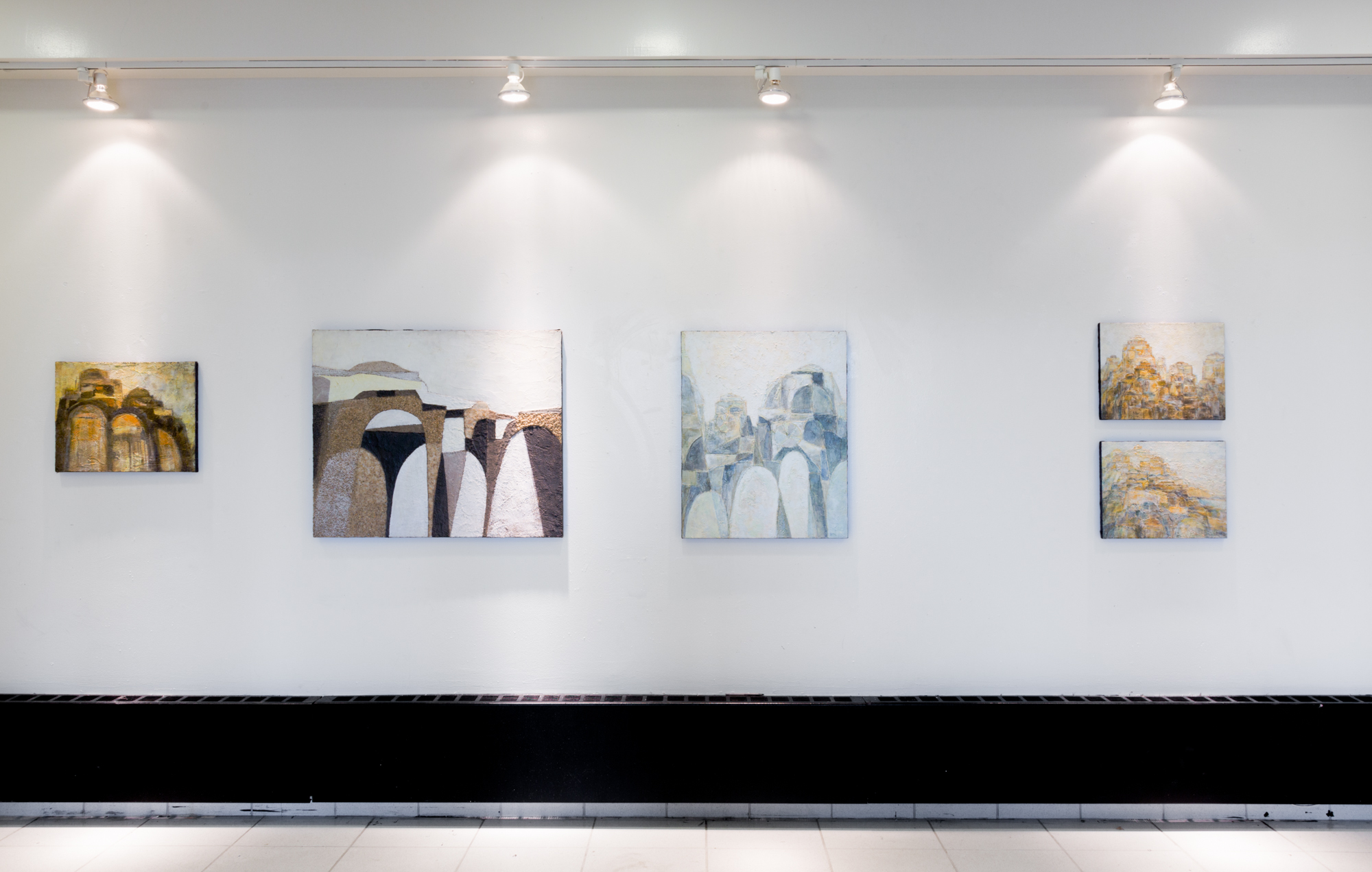 (Left to right) Fred Terna, Observing Easy Strides , 1972, Acrylic on canvas, 16 x 20 inches; Second Protection of Precarious Precepts , 1970, Acrylic on canvas, 30 x 36 inches; Lifted Gates and Doors , 1971, Acrylic and aggregates on canvas, 30 x 24 inches;(Top to bottom) The Day After the Trumpet , 1978,Acrylic on canvas, 14 x 18 inches; An Abundance of Gates , 1978,Acrylic on canvas, 14 x 18 inches