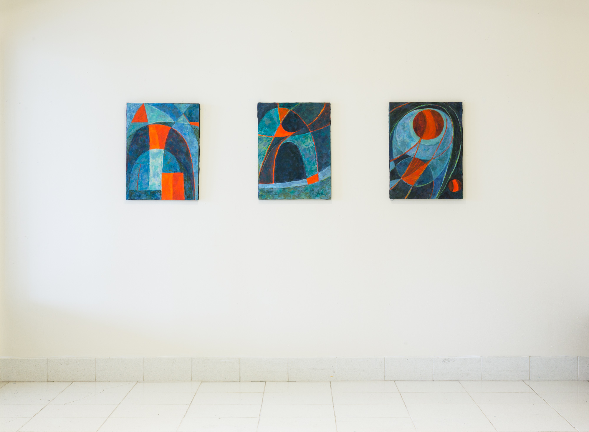 Fred Terna, Second Gate , 2016, Acrylic on Canvas, 24 x 18 inches (left);  Oval Timer , 2017, Acrylic on Canvas, 24 x 18 inches (center); Pierced Echo , 2017, Acrylic on Canvas, 24 x 18 inches (right)