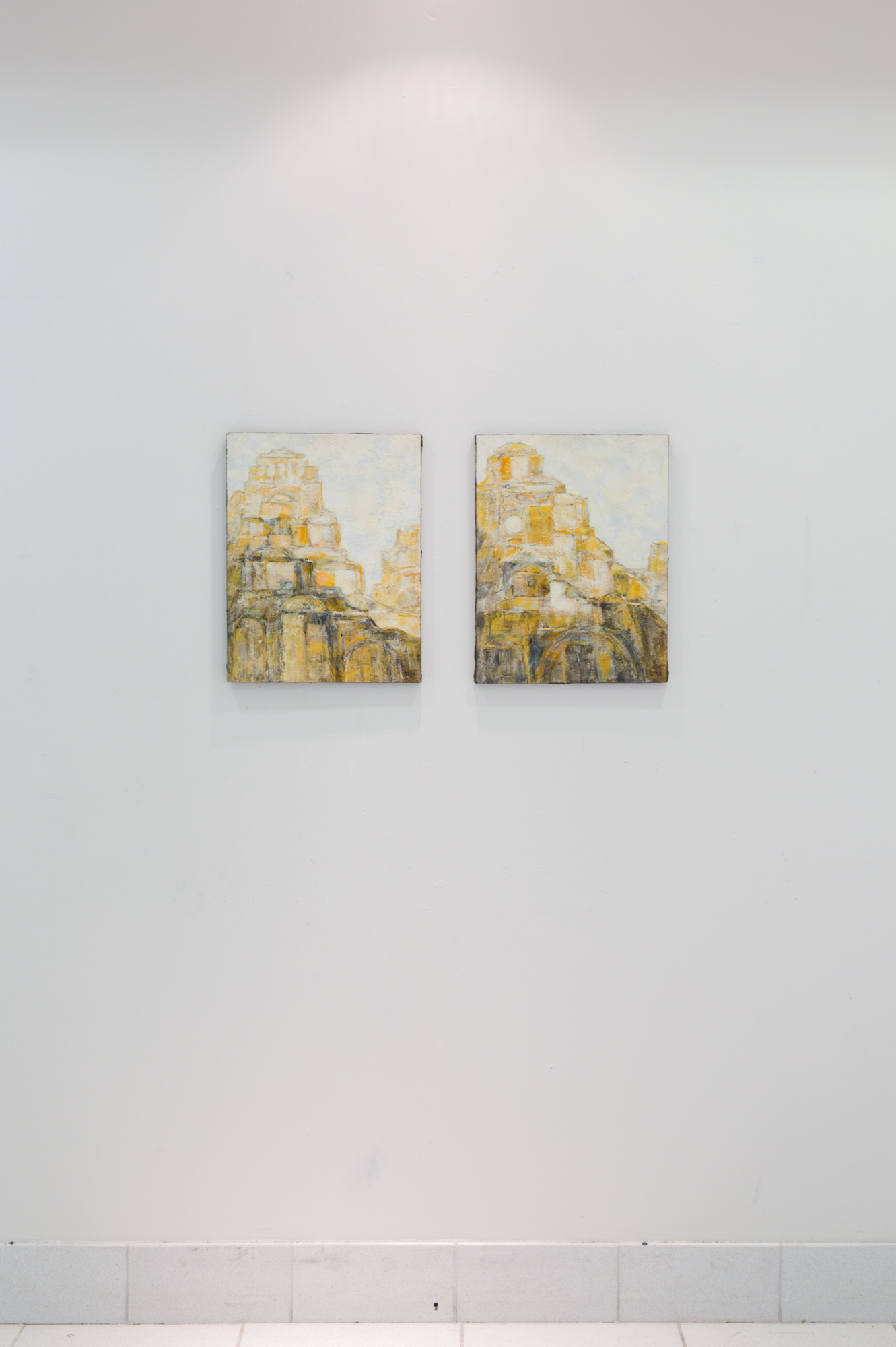 Fred Terna, Light and Gates Waiting , 1978, Acrylic on canvas, 18 x 14 inches (left);  Stones Aloft , 1978, Acrylic on canvas, 18 x 14 inches (right)