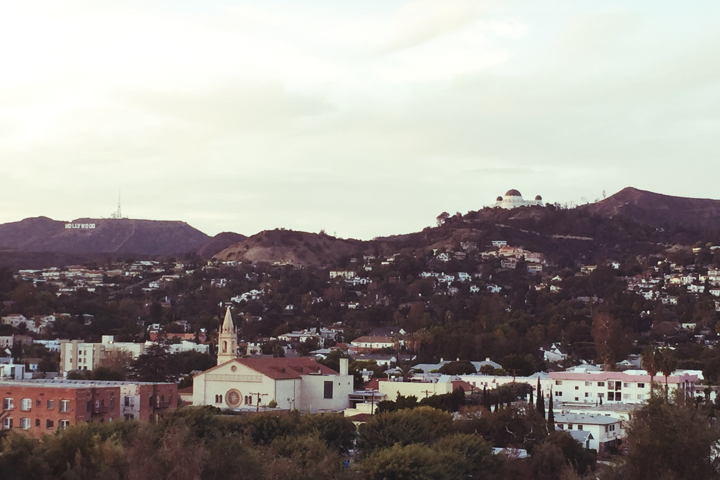 View north from the park to the Hollywood sign & Griffith Observatory