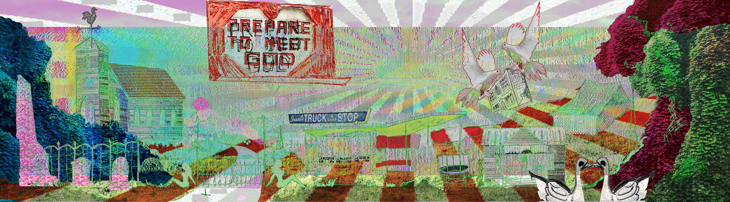 My group & I, WSW Collective, will be giving a 5-minute presentation for an immersive installation of a digital glitch that we would like to exhibit in a gallery space at Western Michigan University, Grand Rapids during ArtPrize 9. The image above is Caro's drawing of a landscape which we colorized and crafted a glitch through using data bending software.