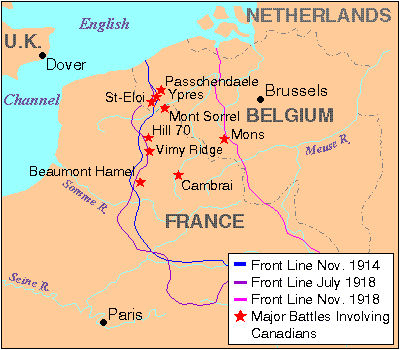 Ypres & Beaumont Hamel battle locations, among others.