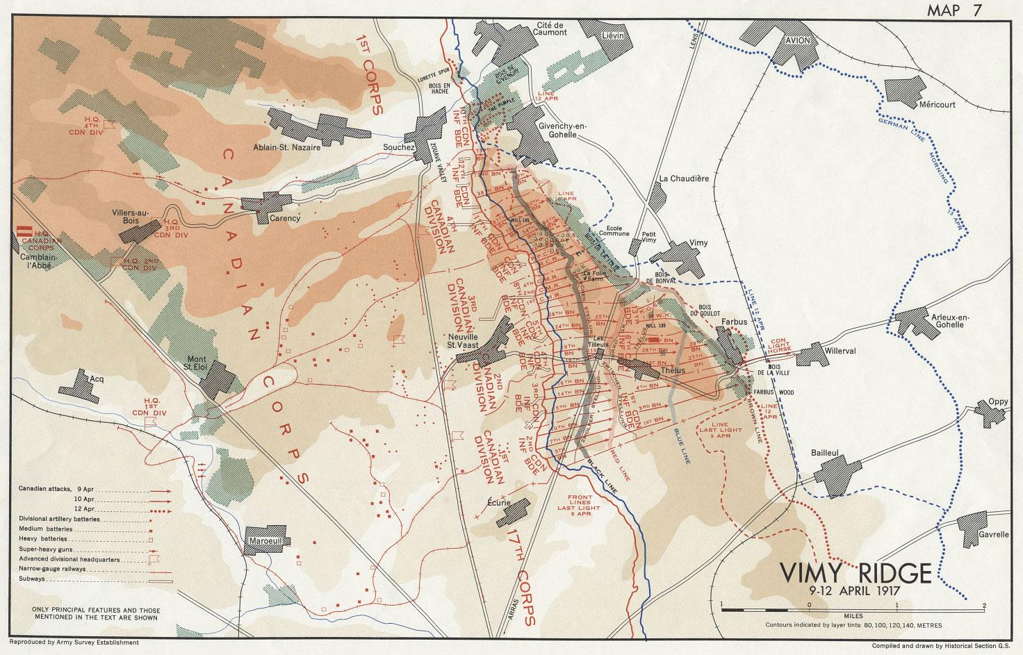 Vimy Ridge Battle Plan -- April 1917