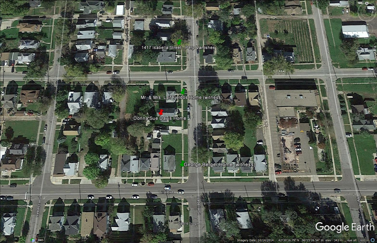 Image of Donna Sue Davis' neighborhood captured from Google Earth.