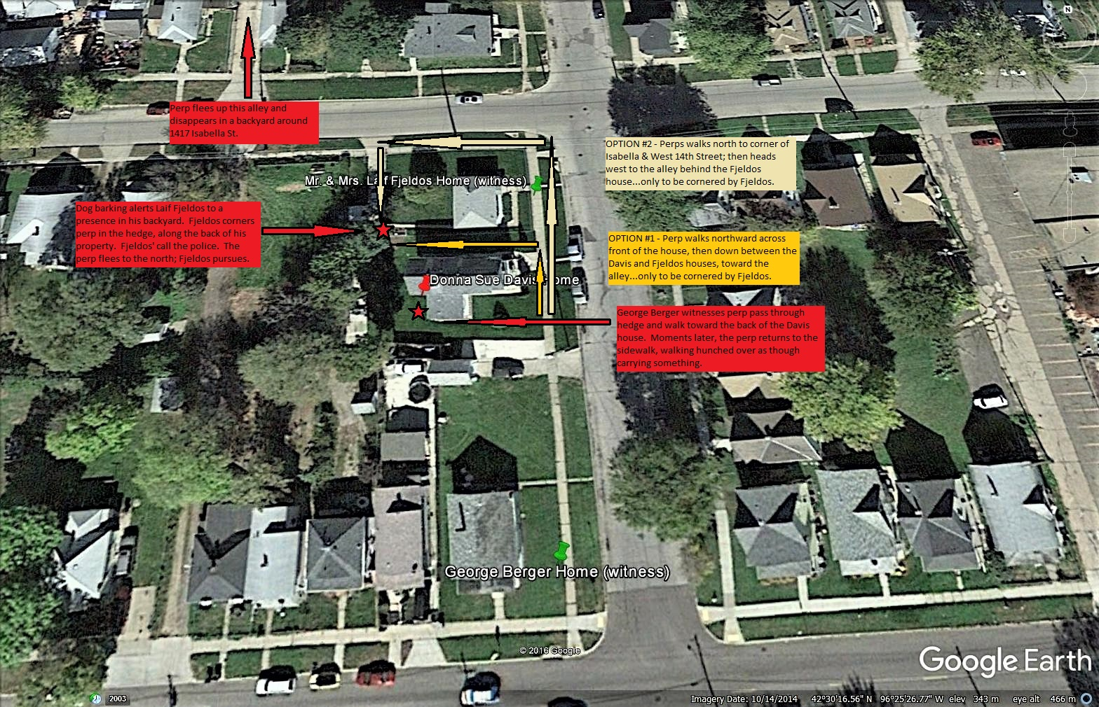 Donna Sue Davis' neighborhood with text overlays explaining the possible routes leading to Laif Fjldos' backyard.