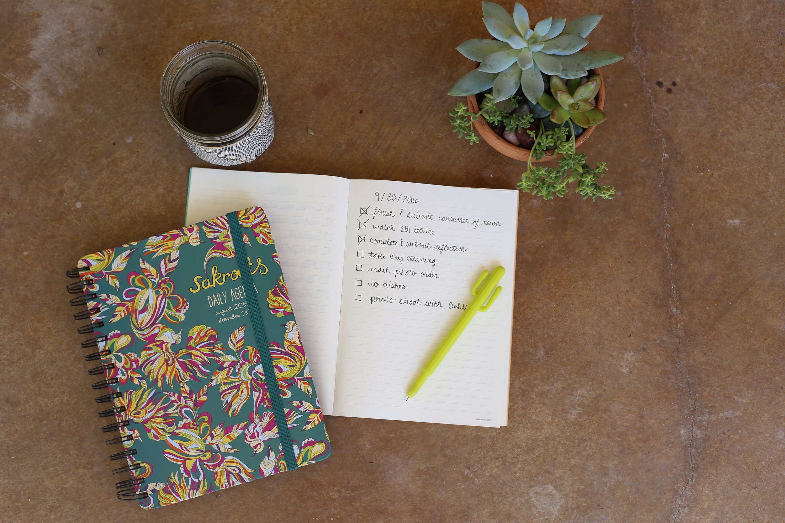 Daily Agenda from Texas A&M Book Store | Recycled Paper Notebook from Target | Cactus Pen from Lolli and Dauts in Round Top, TX | Mason Jar Coffee Mug & Leather Koozie from Bella's in Somerset, PA