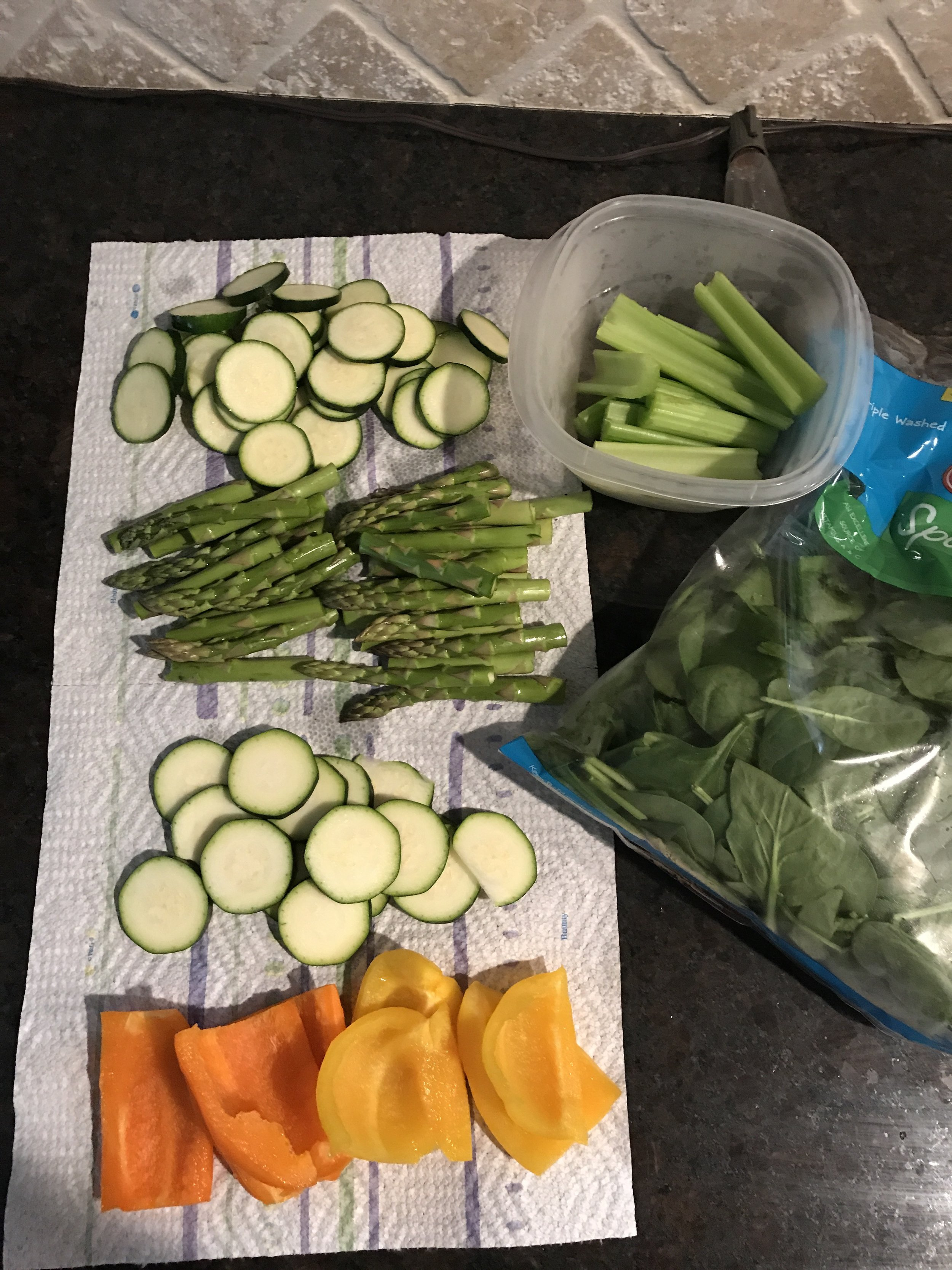 Veggie prep for the week: Celery, spinach, bell peppers, asparagus, zucchini