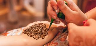 """Traditional """"mehndi""""body art.  H  enna is the plant, a dye, and a tattoo. ... Henna as a dye can be used to color the skin, hair, and fabric."""