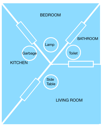 In this example diagram, students can describe symmetry exiting in this unusual blueprint.