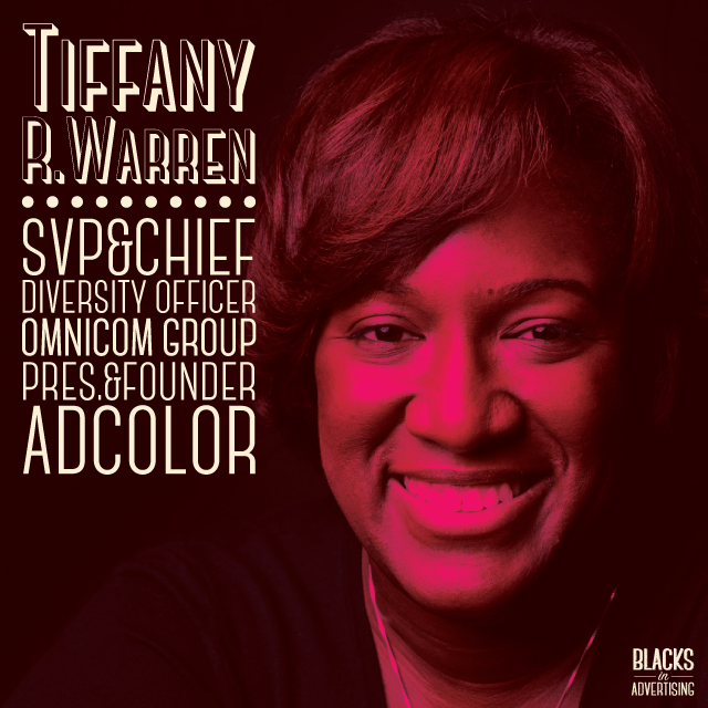"""As Senior VP, Chief Diversity Officer for  Omnicom , Tiffany R. Warren leads the strategy that enhances the Omnicom vision to be a world class, benchmark company for sustainable diversity and inclusion and aligning this critical practice with the company's business objectives and clients' results. She oversees a team focused on Omnicom-wide change efforts for the advancement and retention of top performing talent inclusive of women, people of color and LGBT's in an equally inclusive work culture.  Recognized as a leader in the field of diversity, Tiffany is a talent strategist with 19+ years of championing diverse professionals in the advertising industry. In 2005, she founded  The Adcolor Conference and Awards , which has launched the ADCOLOR Industry Conference, ADCOLOR Awards, FUTURES Program and ADCOLOR University. As President of ADCOLOR, she is deeply involved in the direction the industry is taking around diversity.  In addition to her roles with Omnicom and ADCOLOR, Tiffany serves on the boards for several organizations such as GLAAD, The AAF, and The Ghetto Film School. She is also a member of the 4A's Diversity Committee and chairs the AAF Mosaic Center Executive Council, through which she helps prepare diverse talent to soar in careers with longevity and purpose.  Tiffany was honored as an Advertising Age Woman to Watch, AAF District 2 """"Role Model"""" Diversity Achievement Award, AAF Hall of Achievement Inductee and The Jack Avrett Volunteer Award Recipient (the youngest in the awards history), Black Enterprise Top Executives in Diversity, AAF Pioneer in Diversity Award (Omnicom Group), 4A's MAIP Gladiator Award, the National Association Black Journalists' Patricia L. Tobin Media Professional Award Recipient, The European Diversity Awards' Global Diversity Champion Award and the Woman of Distinction Award from the Girl Scouts of Greater New York  A native Bostonian and the oldest of ten children, Tiffany is a proud graduate of The Winsor School and Bentley U"""