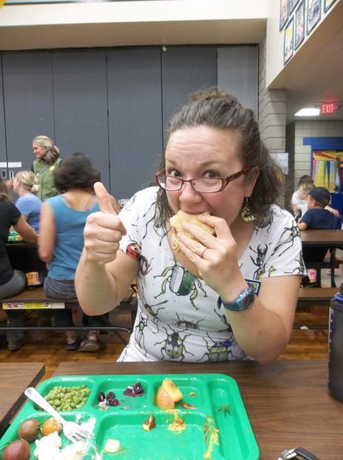 "C15's Holli ""The Bug-Lady"" Watne enjoying the local cuisine."