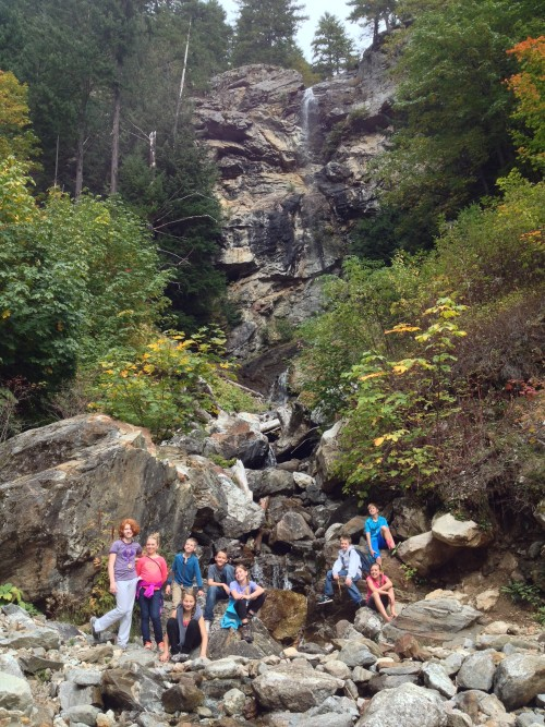 Enjoying the Sourdough Creek waterfall!