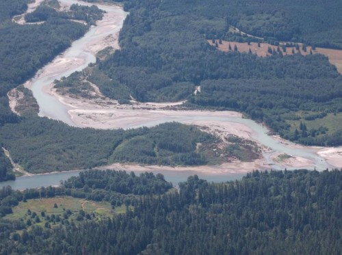 Confluence of the Sauk (Upper) and Skagit (Lower) Rivers