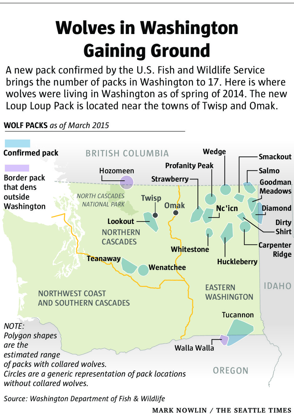 Washington Pack locations (without Loup Loup). Photo courtesy of   Seattle Times.