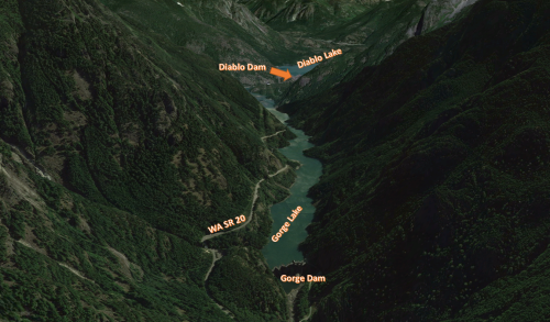 Skagit River Valley at Diablo Dam. Photo courtesy of Google Earth.