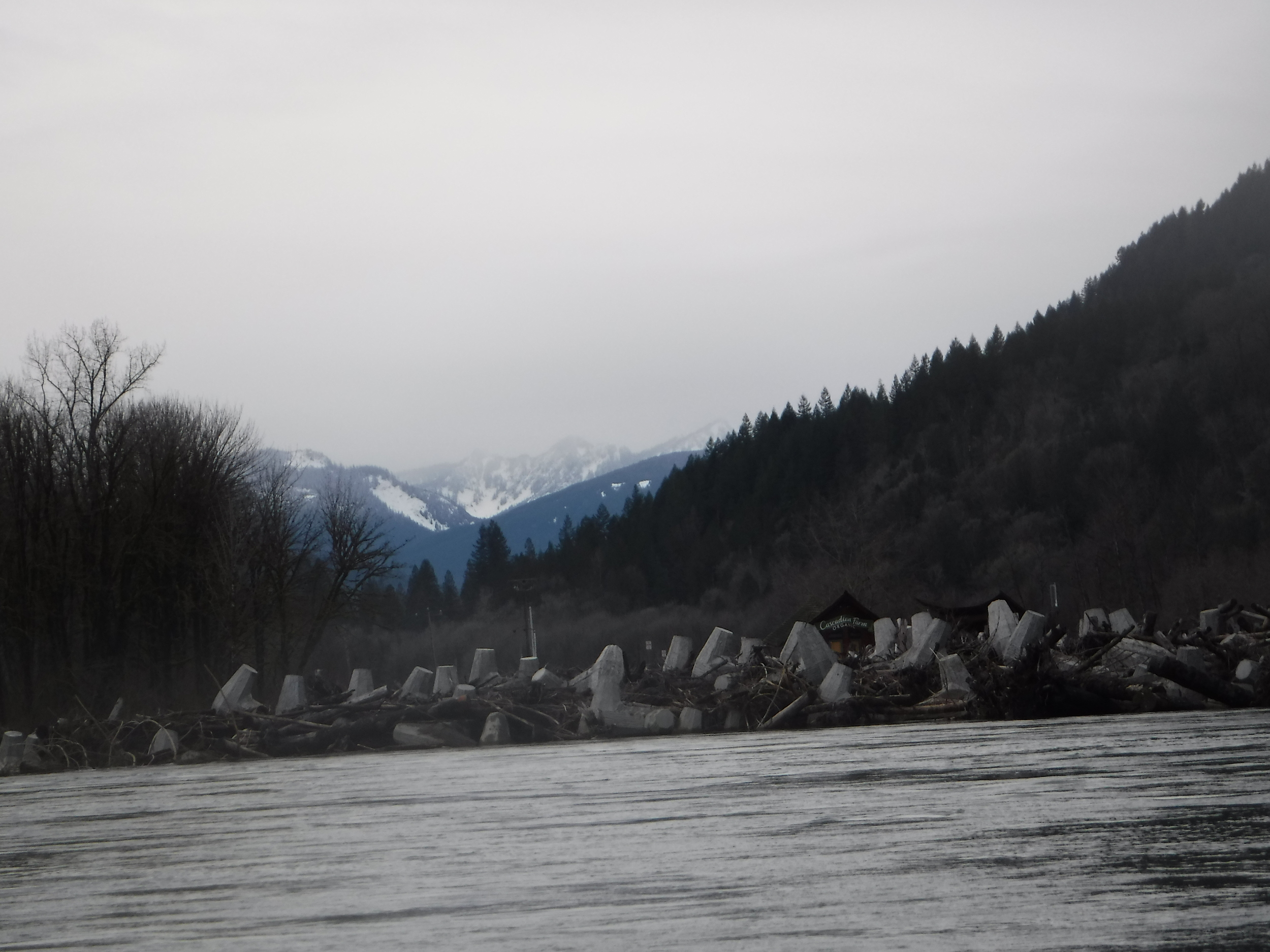 Floating by   Cascadian Farm   with an artificial log-jam.