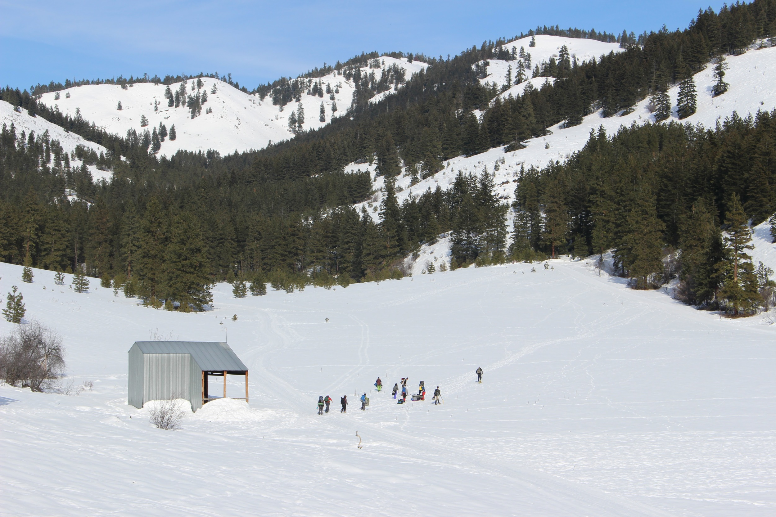200 yard trek to snow shelters. Photo courtesy of Aly Gourd.