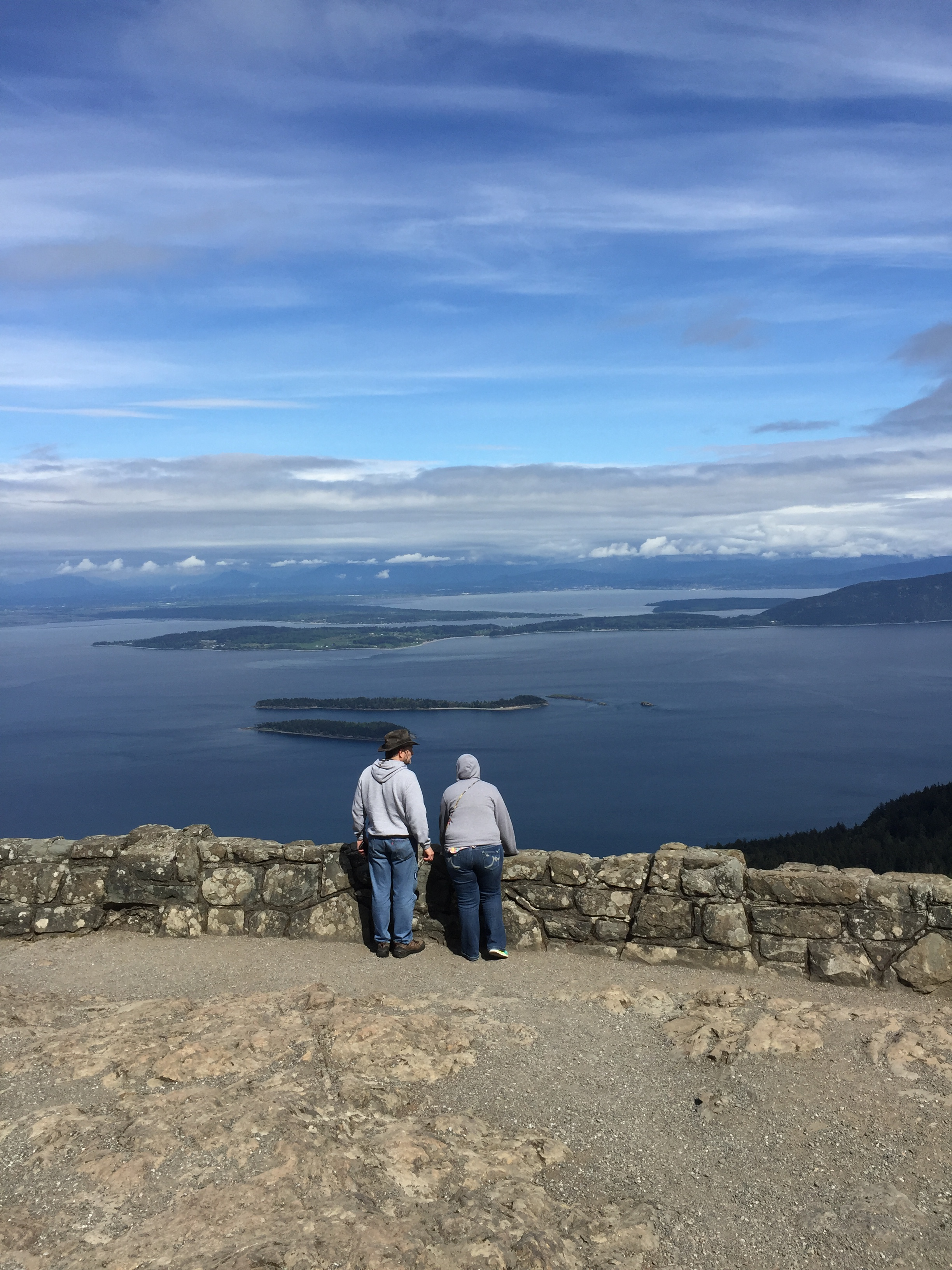 Dad and Abby looking out on Mount Constitution on Orcas Island.